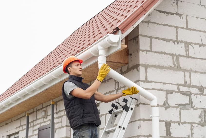 Installation of gutter system - Residential roofing
